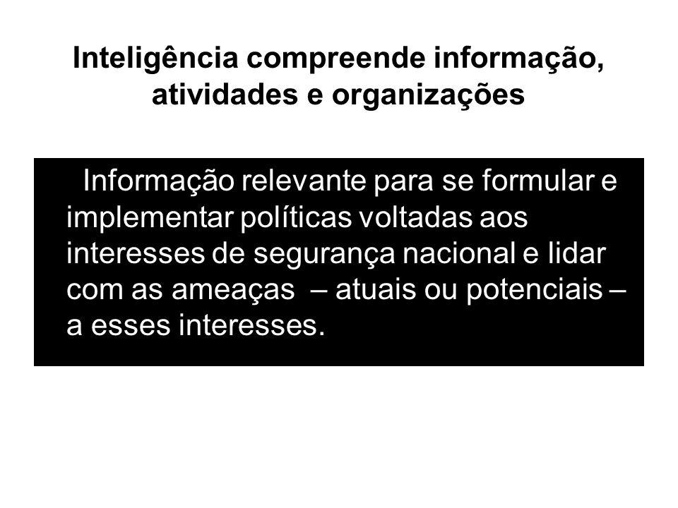 Inteligência compreende informação, atividades e organizações