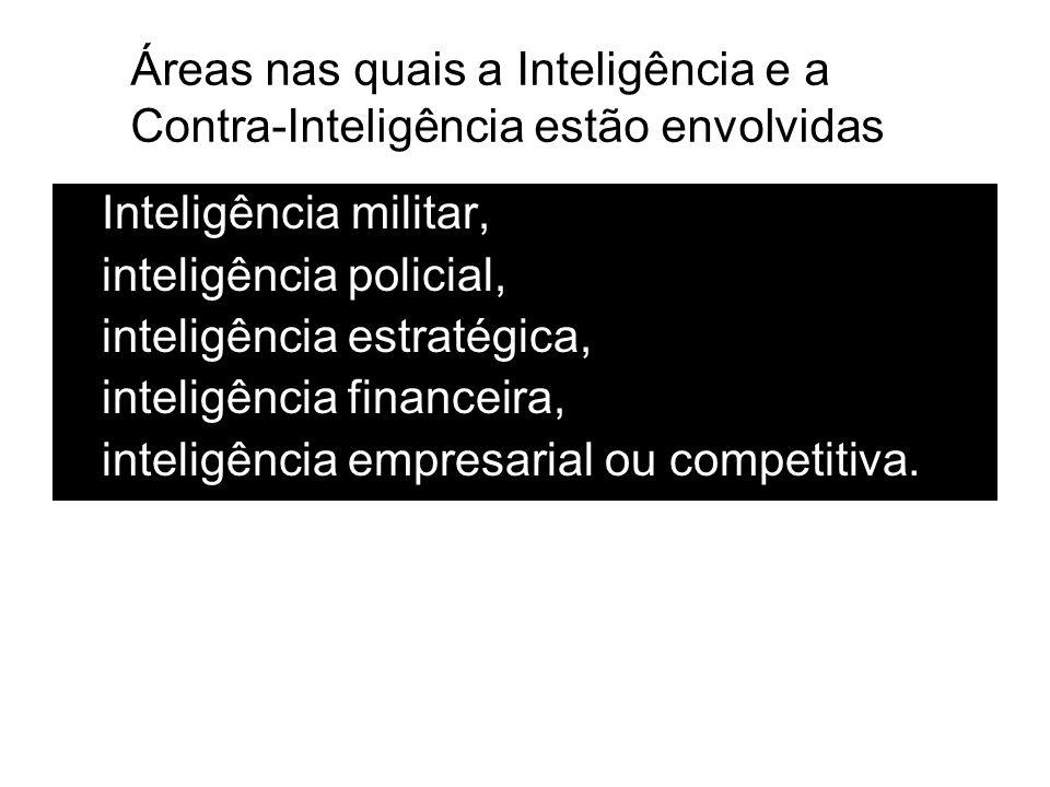 Áreas nas quais a Inteligência e a Contra-Inteligência estão envolvidas
