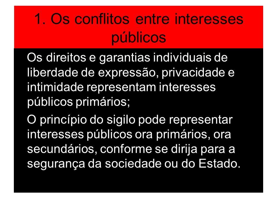 1. Os conflitos entre interesses públicos