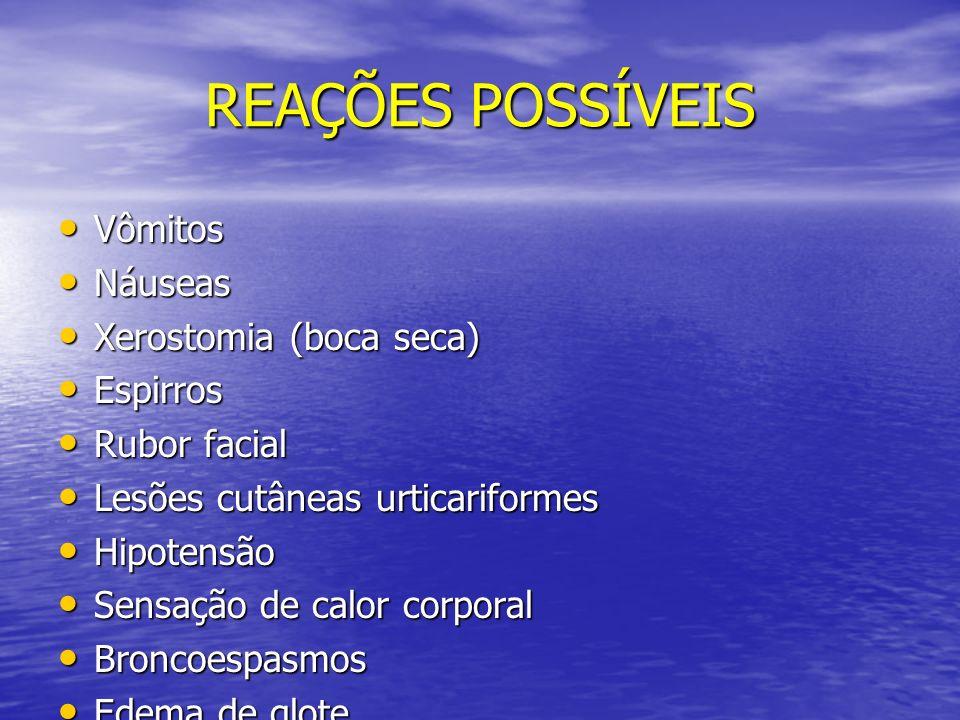 REAÇÕES POSSÍVEIS Vômitos Náuseas Xerostomia (boca seca) Espirros