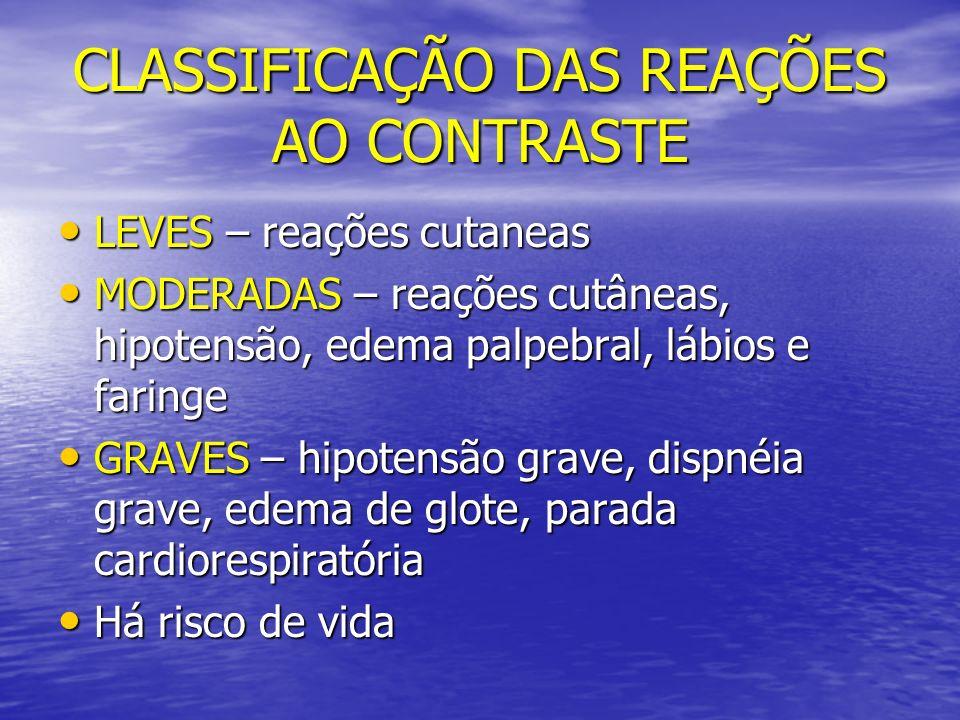 CLASSIFICAÇÃO DAS REAÇÕES AO CONTRASTE