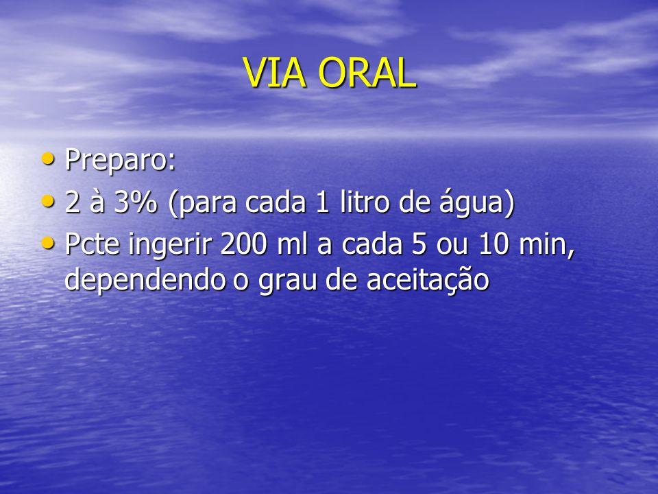 VIA ORAL Preparo: 2 à 3% (para cada 1 litro de água)