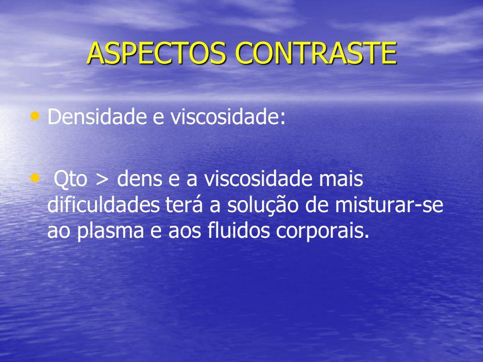 ASPECTOS CONTRASTE Densidade e viscosidade: