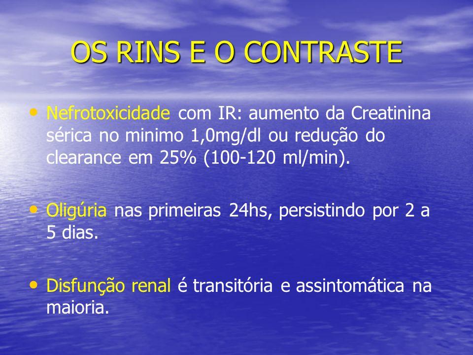 OS RINS E O CONTRASTE Nefrotoxicidade com IR: aumento da Creatinina sérica no minimo 1,0mg/dl ou redução do clearance em 25% (100-120 ml/min).