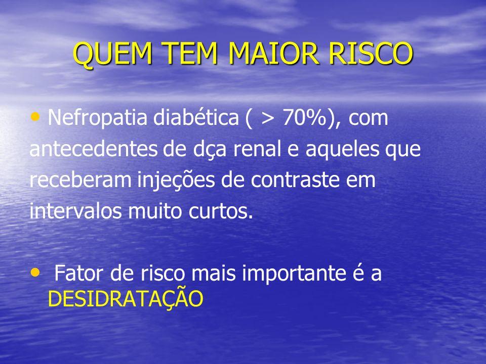 QUEM TEM MAIOR RISCO Nefropatia diabética ( > 70%), com