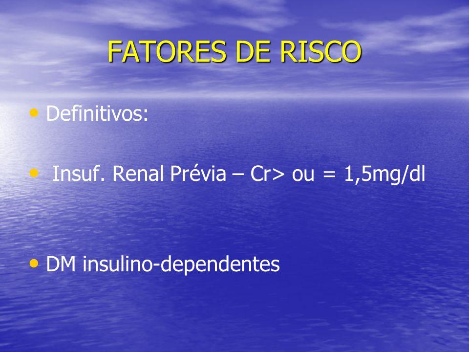 FATORES DE RISCO Definitivos: