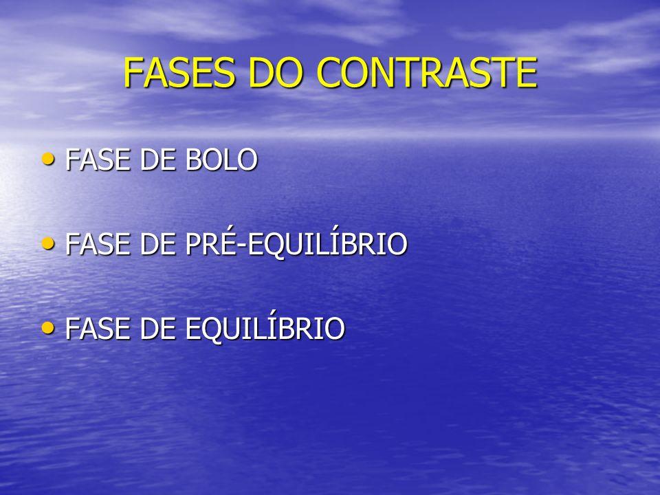 FASES DO CONTRASTE FASE DE BOLO FASE DE PRÉ-EQUILÍBRIO
