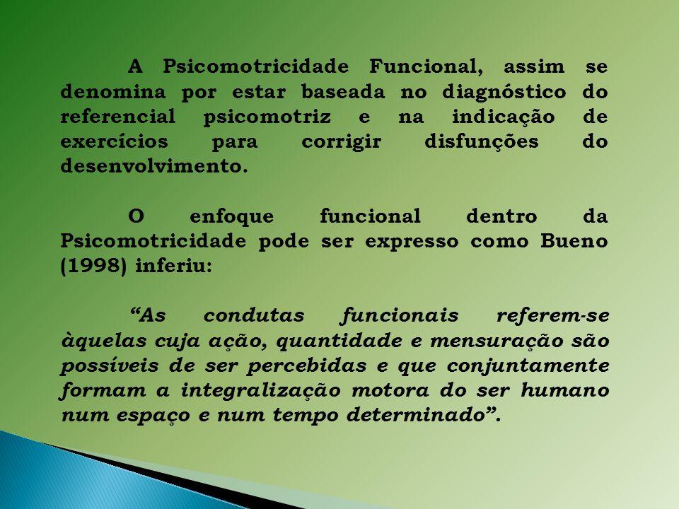 A Psicomotricidade Funcional, assim se denomina por estar baseada no diagnóstico do referencial psicomotriz e na indicação de exercícios para corrigir disfunções do desenvolvimento.