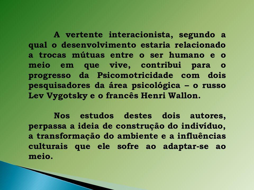 A vertente interacionista, segundo a qual o desenvolvimento estaria relacionado a trocas mútuas entre o ser humano e o meio em que vive, contribui para o progresso da Psicomotricidade com dois pesquisadores da área psicológica – o russo Lev Vygotsky e o francês Henri Wallon.