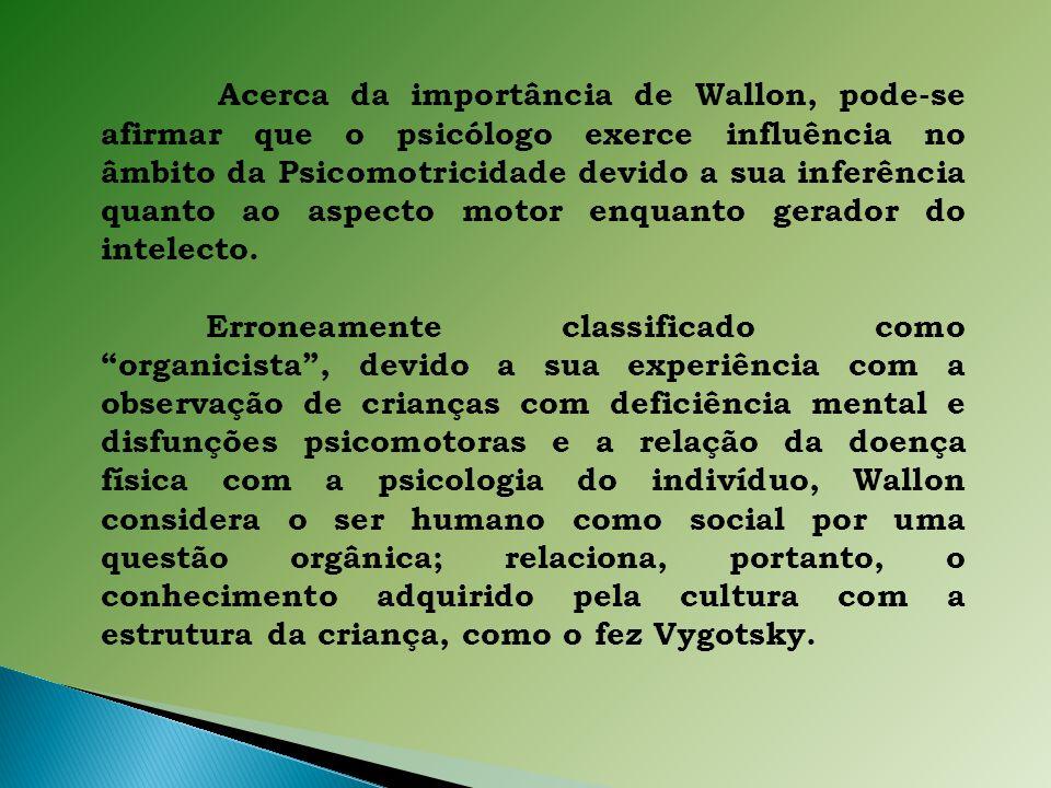 Acerca da importância de Wallon, pode-se afirmar que o psicólogo exerce influência no âmbito da Psicomotricidade devido a sua inferência quanto ao aspecto motor enquanto gerador do intelecto.