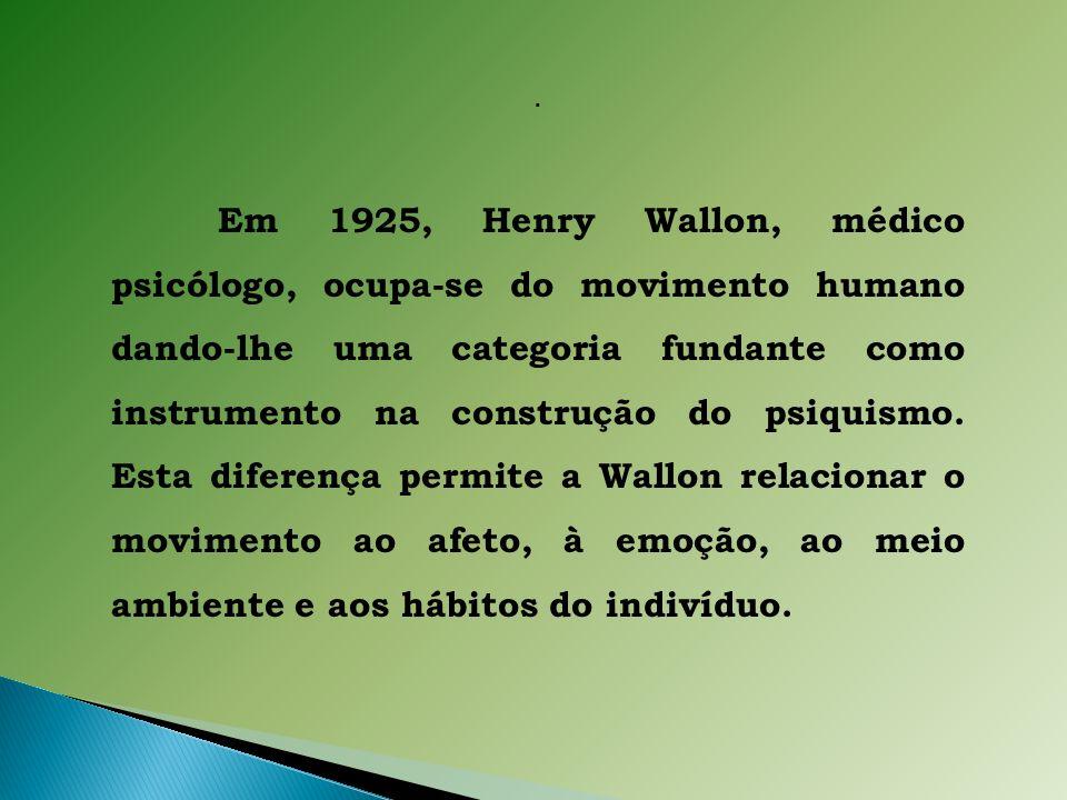 Em 1925, Henry Wallon, médico psicólogo, ocupa-se do movimento humano dando-lhe uma categoria fundante como instrumento na construção do psiquismo.