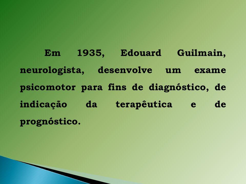 Em 1935, Edouard Guilmain, neurologista, desenvolve um exame psicomotor para fins de diagnóstico, de indicação da terapêutica e de prognóstico.