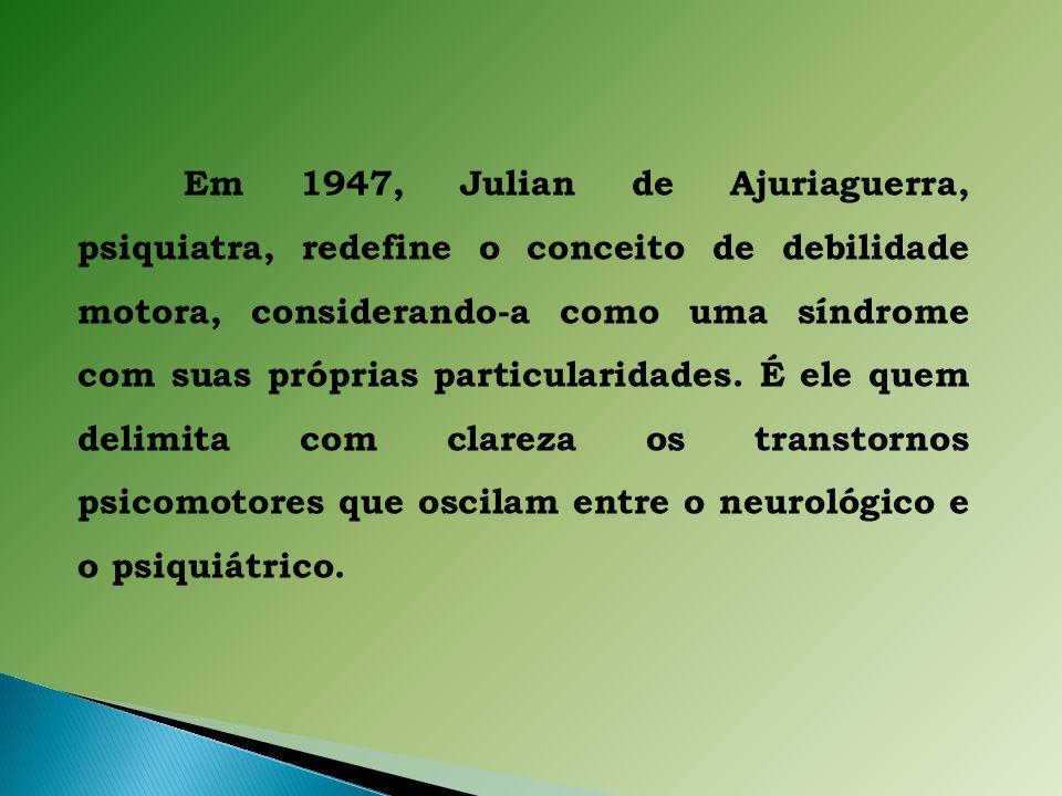 Em 1947, Julian de Ajuriaguerra, psiquiatra, redefine o conceito de debilidade motora, considerando-a como uma síndrome com suas próprias particularidades.