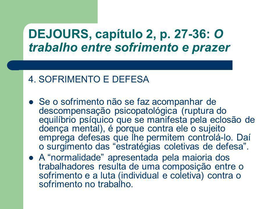 DEJOURS, capítulo 2, p. 27-36: O trabalho entre sofrimento e prazer