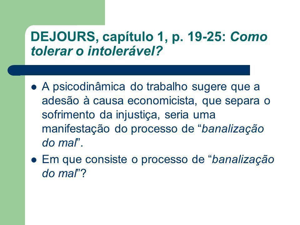 DEJOURS, capítulo 1, p. 19-25: Como tolerar o intolerável