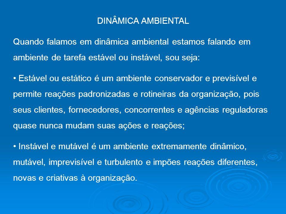 DINÂMICA AMBIENTAL Quando falamos em dinâmica ambiental estamos falando em ambiente de tarefa estável ou instável, sou seja: