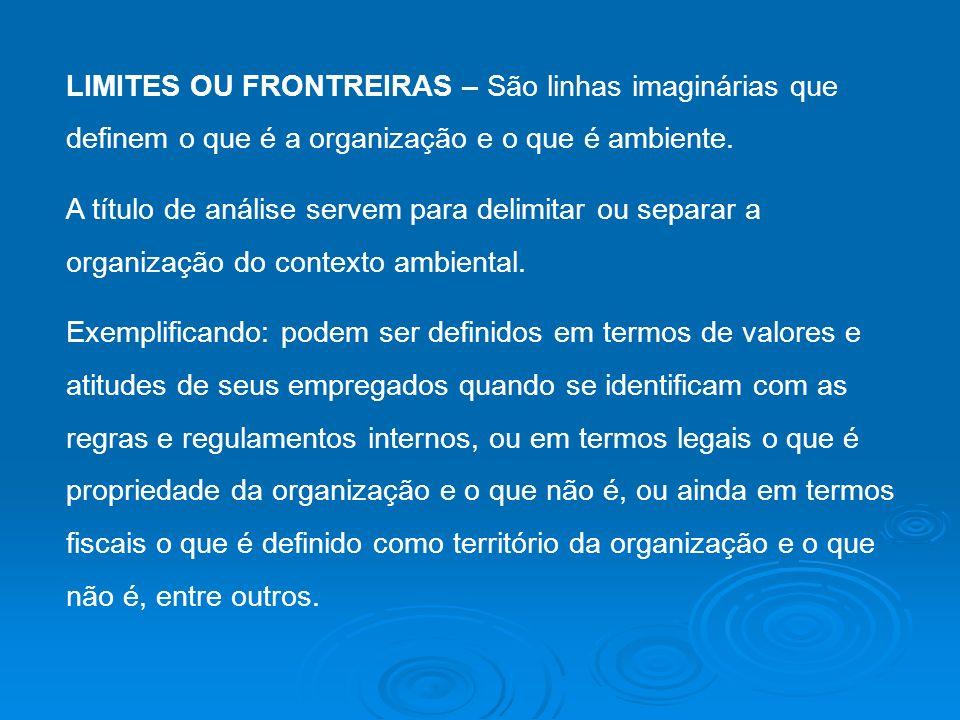 LIMITES OU FRONTREIRAS – São linhas imaginárias que definem o que é a organização e o que é ambiente.
