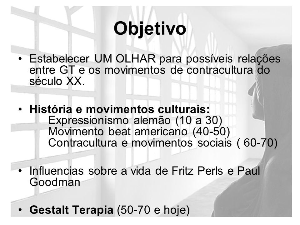 Objetivo Estabelecer UM OLHAR para possíveis relações entre GT e os movimentos de contracultura do século XX.