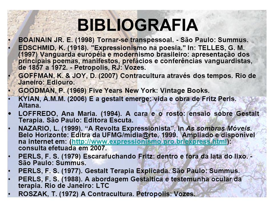 BIBLIOGRAFIA BOAINAIN JR. E. (1998) Tornar-se transpessoal. - São Paulo: Summus.