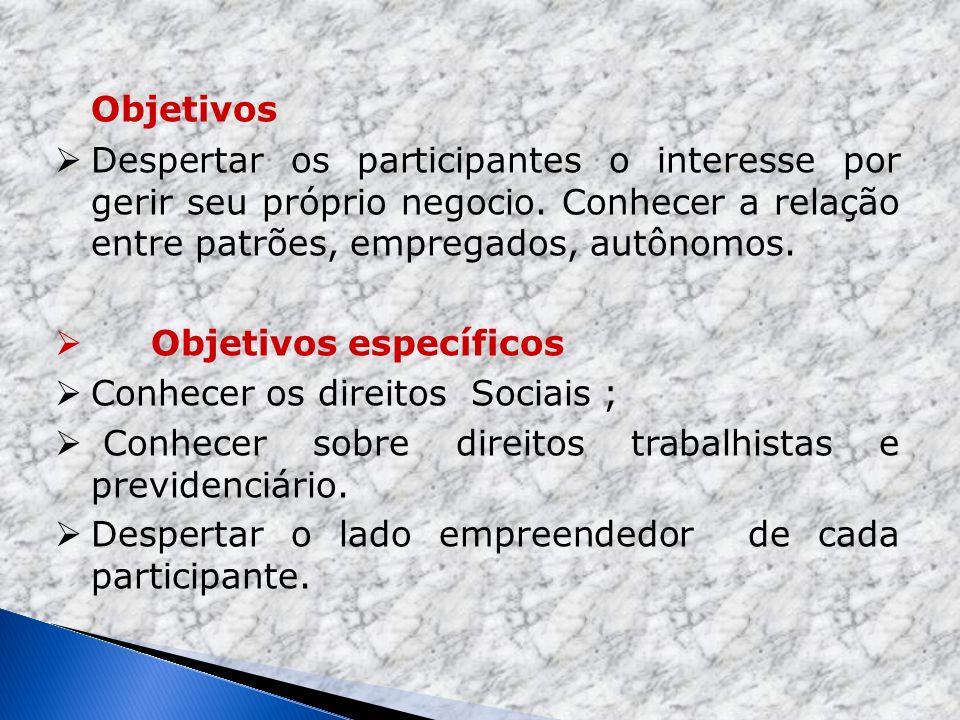 Objetivos específicos Conhecer os direitos Sociais ;
