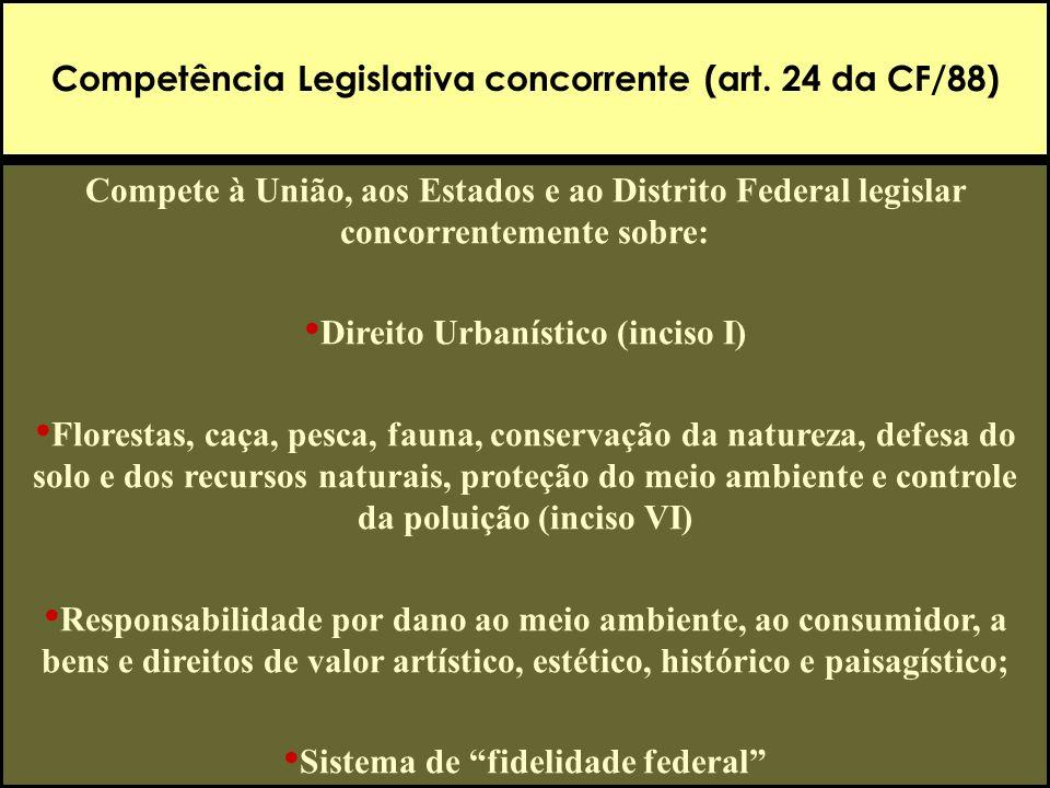 Competência Legislativa concorrente (art. 24 da CF/88)