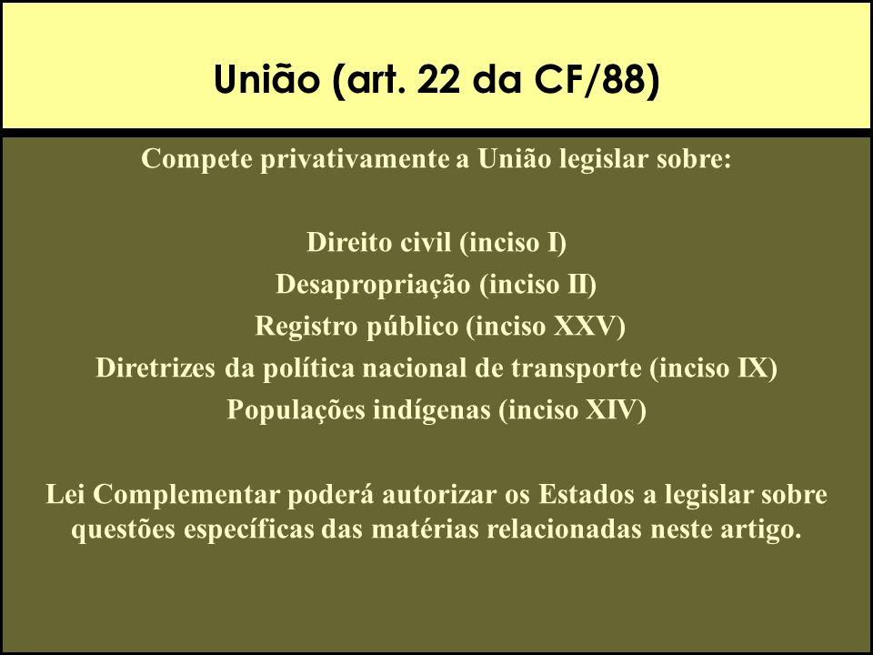 União (art. 22 da CF/88) Compete privativamente a União legislar sobre: Direito civil (inciso I) Desapropriação (inciso II)