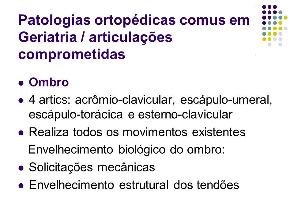 Patologias ortopédicas comus em Geriatria / articulações comprometidas