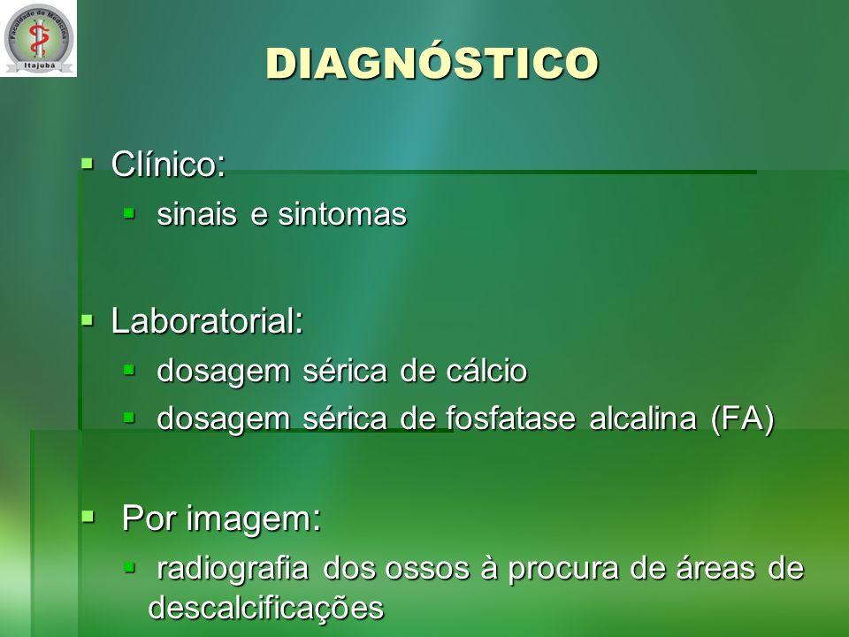 DIAGNÓSTICO Por imagem: Clínico: Laboratorial: sinais e sintomas