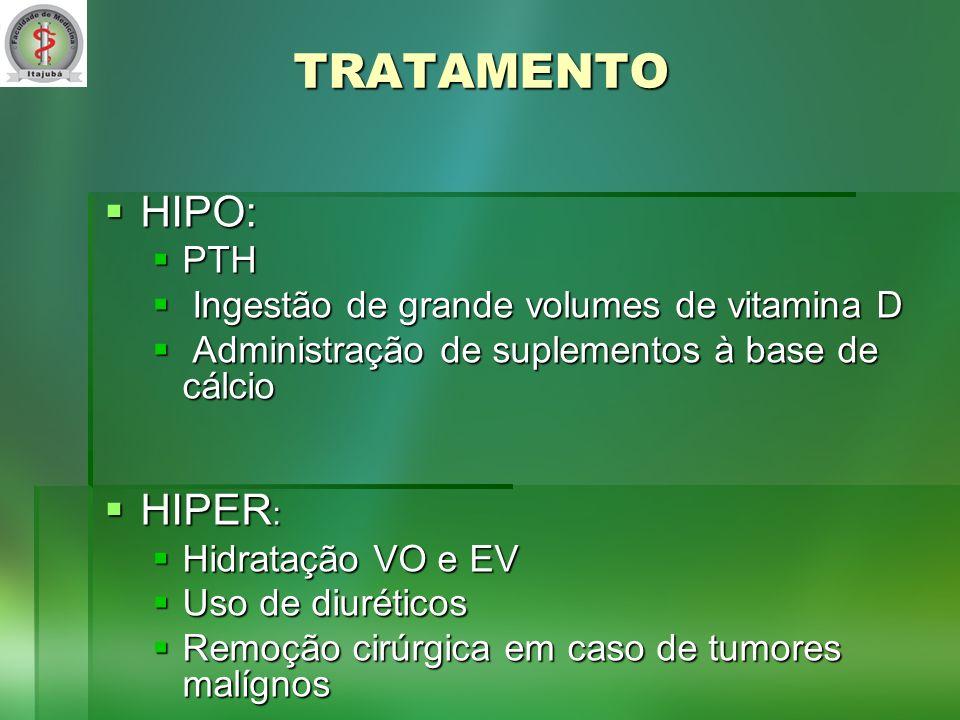 TRATAMENTO HIPO: HIPER: PTH Ingestão de grande volumes de vitamina D