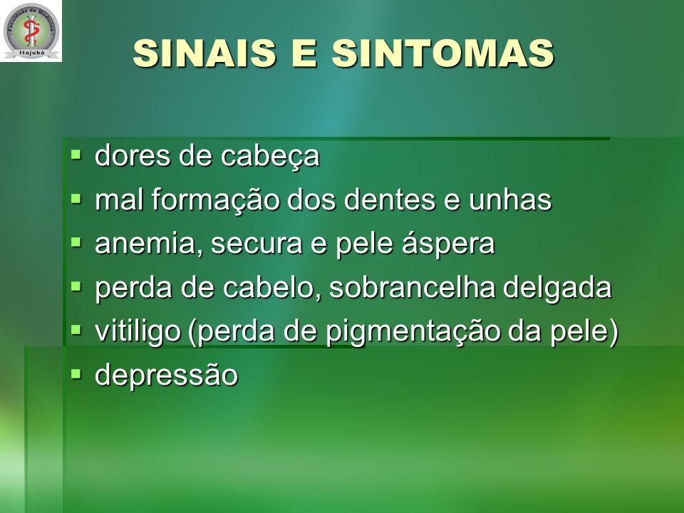 SINAIS E SINTOMAS dores de cabeça mal formação dos dentes e unhas