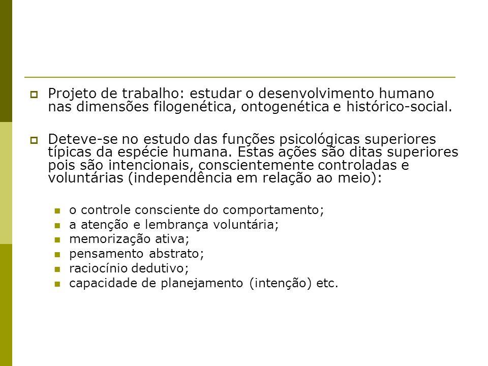 Projeto de trabalho: estudar o desenvolvimento humano nas dimensões filogenética, ontogenética e histórico-social.