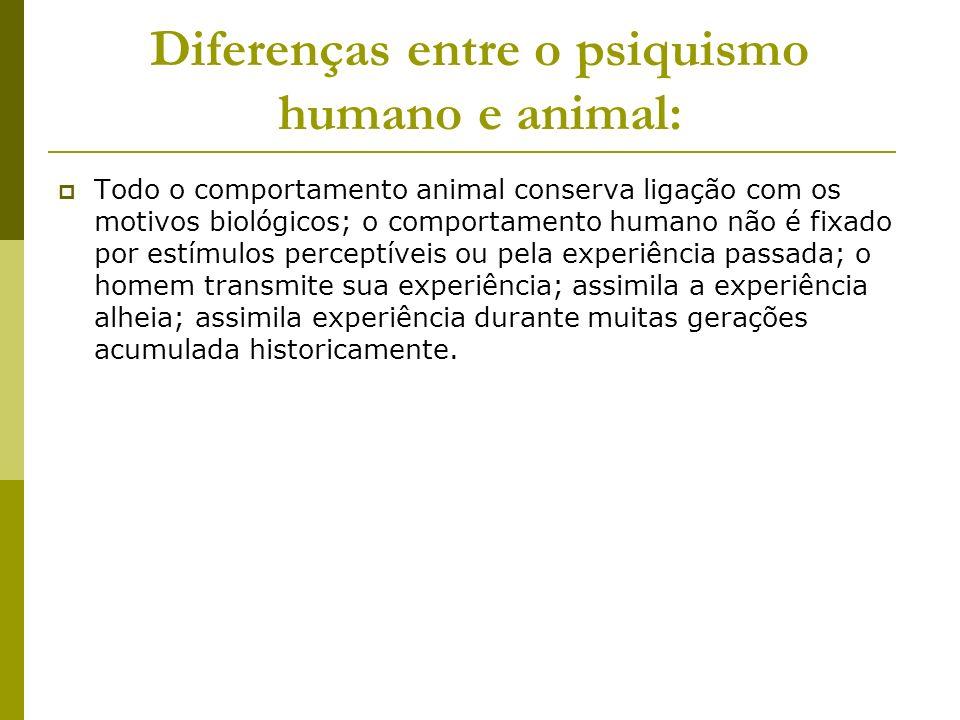 Diferenças entre o psiquismo humano e animal: