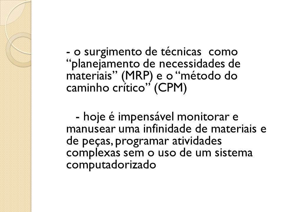 - o surgimento de técnicas como planejamento de necessidades de materiais (MRP) e o método do caminho crítico (CPM)