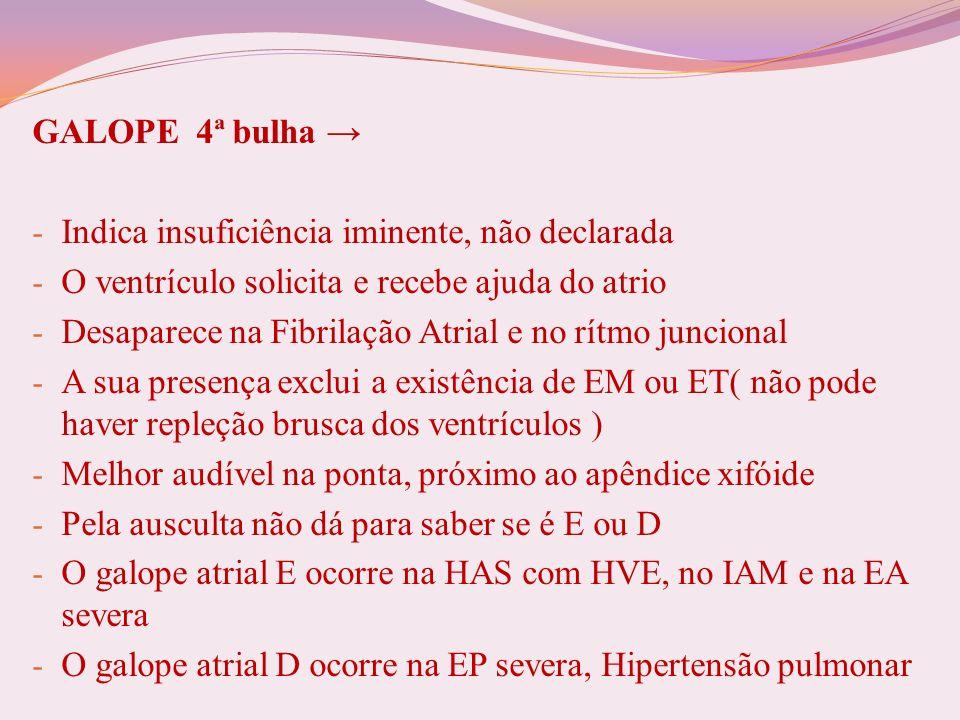 GALOPE 4ª bulha → Indica insuficiência iminente, não declarada. O ventrículo solicita e recebe ajuda do atrio.