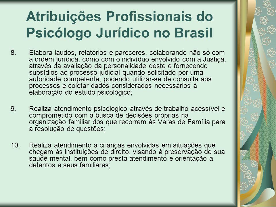 Atribuições Profissionais do Psicólogo Jurídico no Brasil
