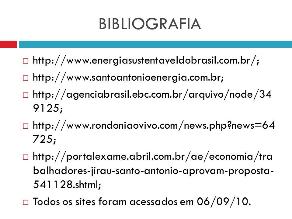 BIBLIOGRAFIA http://www.energiasustentaveldobrasil.com.br/;