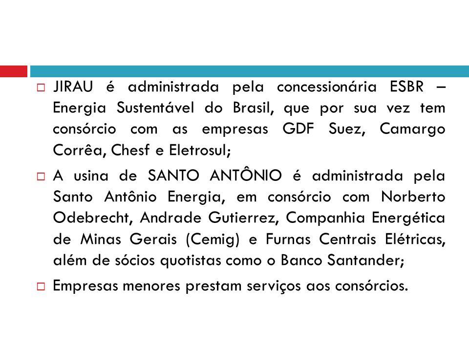 JIRAU é administrada pela concessionária ESBR – Energia Sustentável do Brasil, que por sua vez tem consórcio com as empresas GDF Suez, Camargo Corrêa, Chesf e Eletrosul;