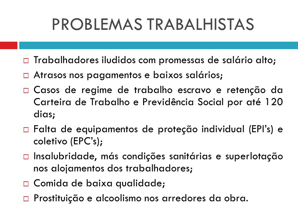 PROBLEMAS TRABALHISTAS