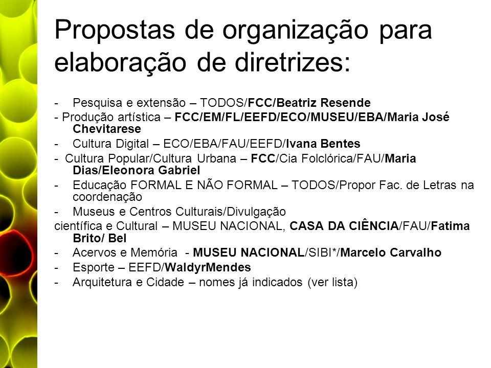 Propostas de organização para elaboração de diretrizes:
