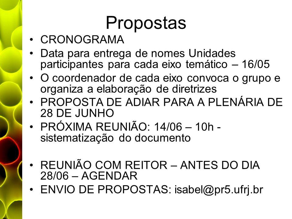 Propostas CRONOGRAMA. Data para entrega de nomes Unidades participantes para cada eixo temático – 16/05.
