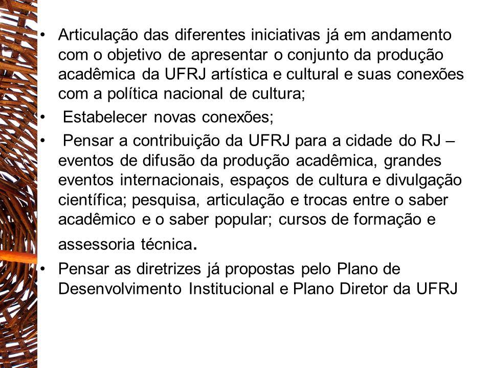 Articulação das diferentes iniciativas já em andamento com o objetivo de apresentar o conjunto da produção acadêmica da UFRJ artística e cultural e suas conexões com a política nacional de cultura;