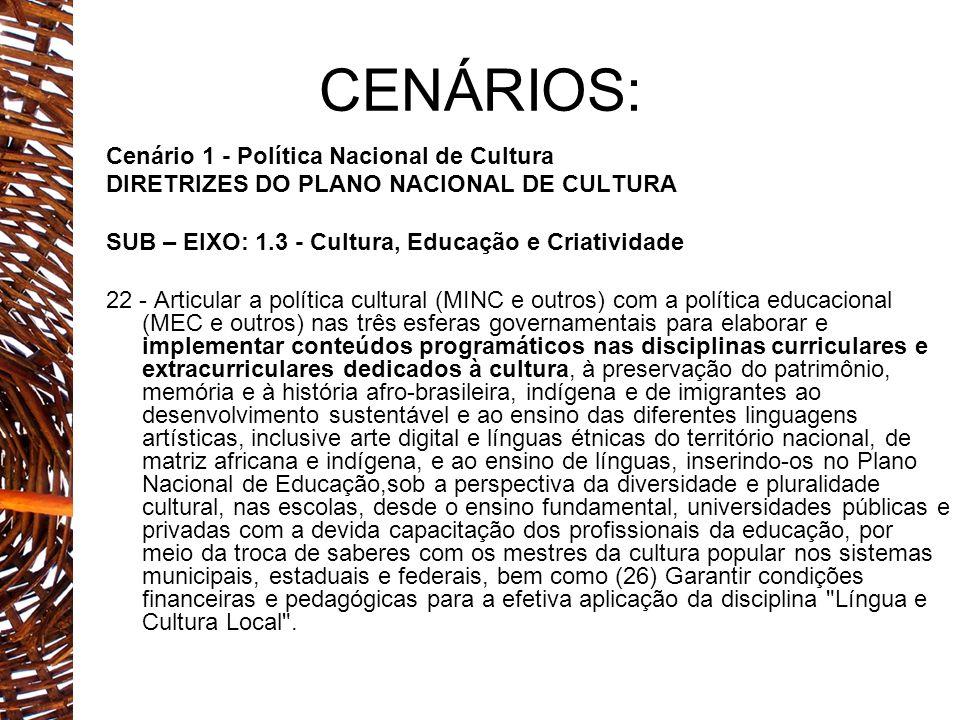 CENÁRIOS: Cenário 1 - Política Nacional de Cultura