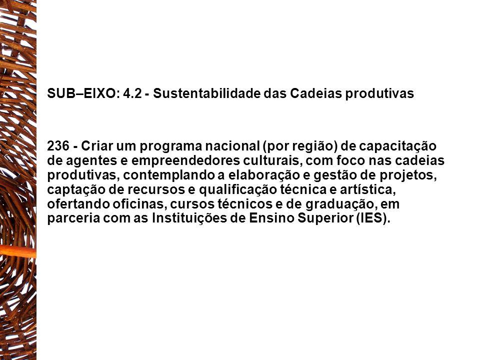 SUB–EIXO: 4.2 - Sustentabilidade das Cadeias produtivas