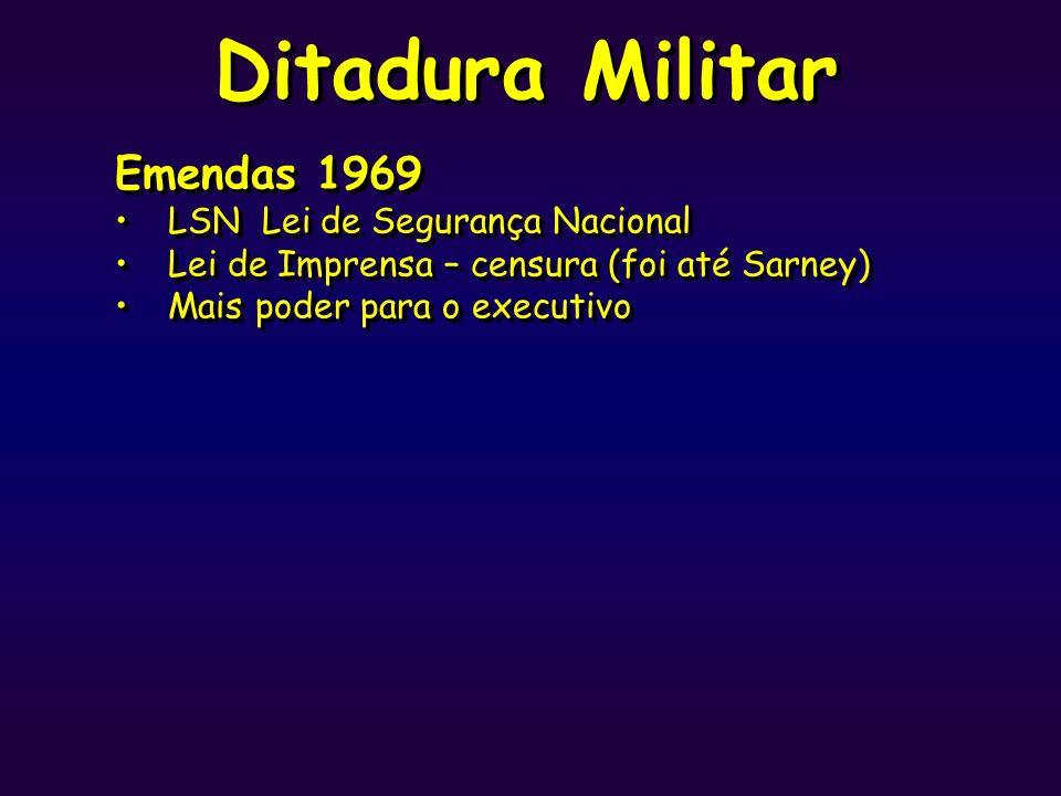 Ditadura Militar Emendas 1969 LSN Lei de Segurança Nacional