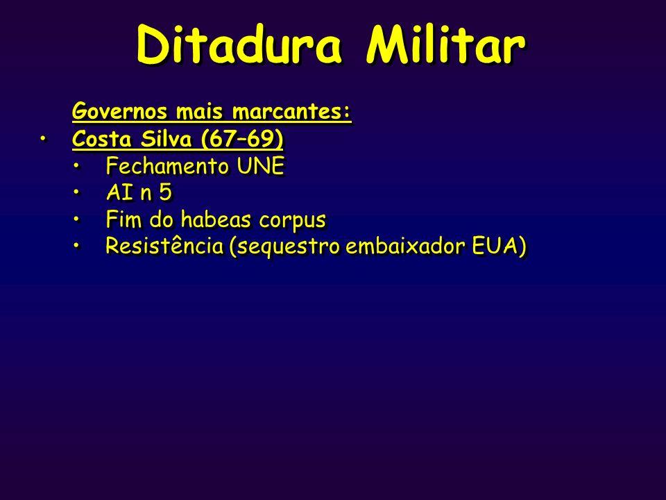 Ditadura Militar Governos mais marcantes: Costa Silva (67–69)