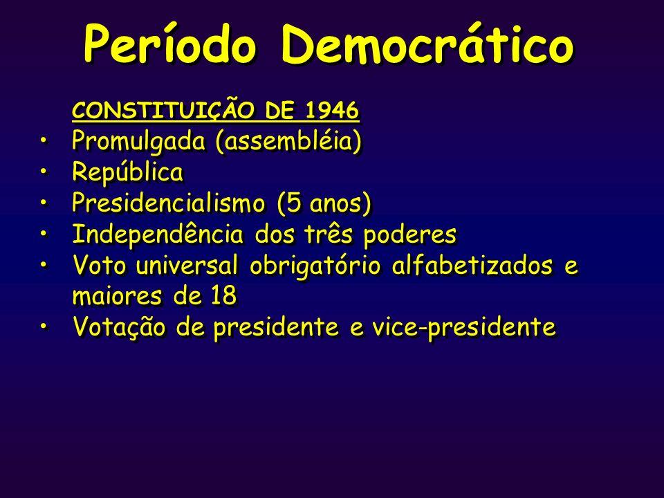 Período Democrático CONSTITUIÇÃO DE 1946 Promulgada (assembléia)