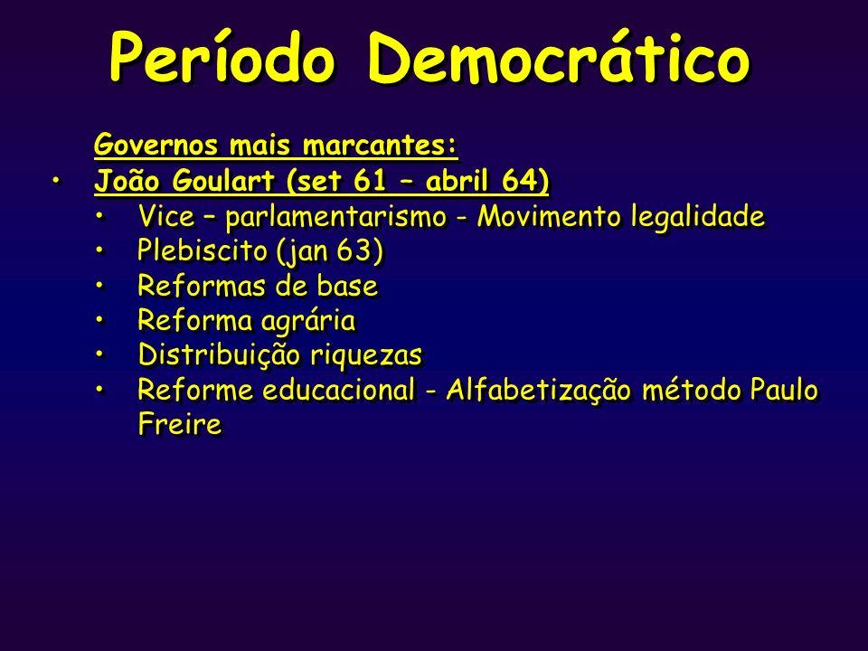 Período Democrático Governos mais marcantes: