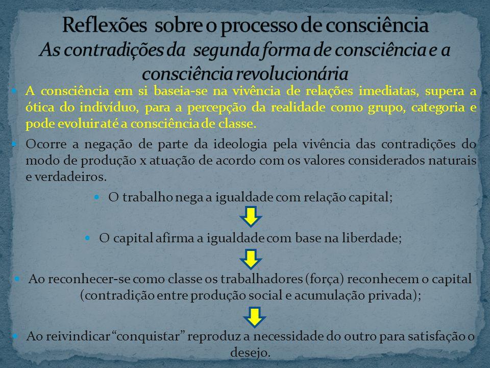 Reflexões sobre o processo de consciência As contradições da segunda forma de consciência e a consciência revolucionária