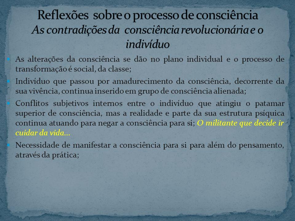 Reflexões sobre o processo de consciência As contradições da consciência revolucionária e o indivíduo