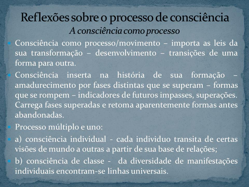 Reflexões sobre o processo de consciência A consciência como processo